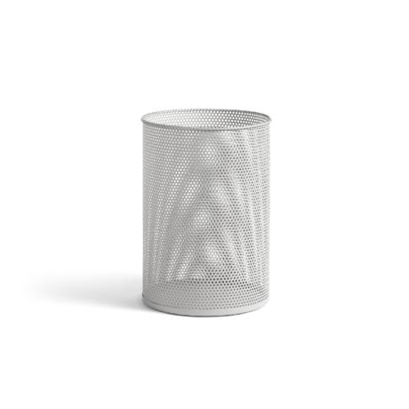 HAY Trash can Perforated Bin L light gray metal Ø30.5x44cm