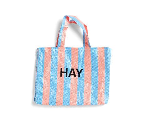 HAY Sac Candy Stripe M plastique bleu orange 50x12x37cm