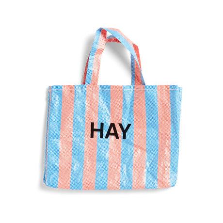 HAY Borsa Candy Stripe M blu arancione plastica 50x12x37cm