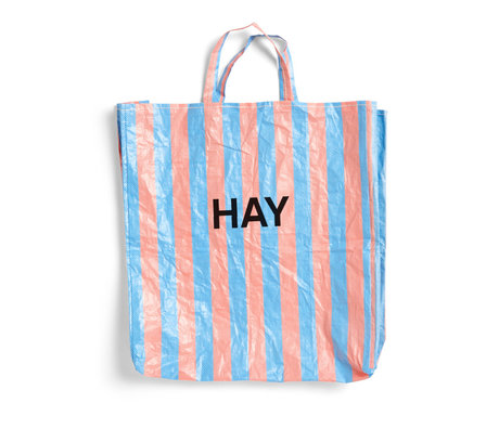 HAY Sac Candy Stripe XL bleu orange plastique 64x28x70cm