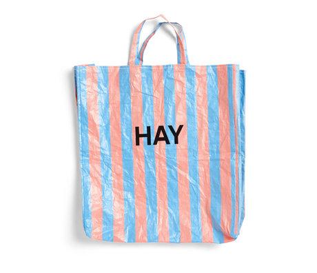 HAY Tasche Candy Stripe XL blau orange Kunststoff 64x28x70cm
