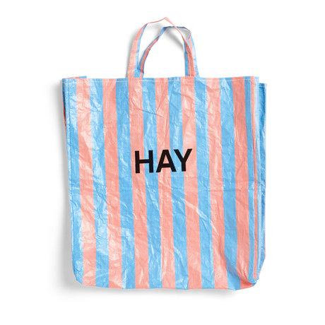 HAY Borsa Candy Stripe XL blu arancione plastica 64x28x70cm