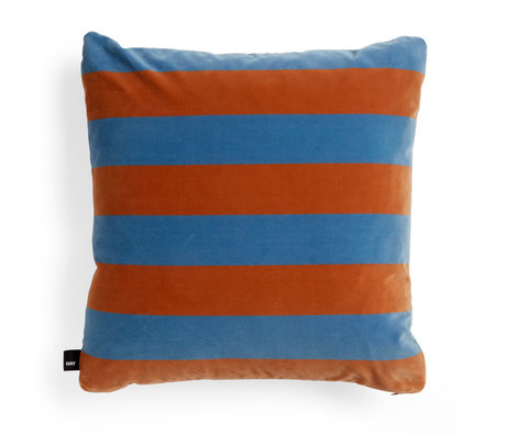 HAY Cushion Soft Stripe light blue orange textile 50x50cm