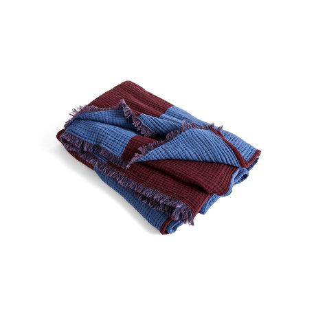 HAY Plaid Crinkle Stripe cotone blu bordeaux 210x150cm