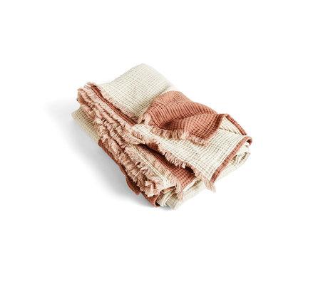HAY Plaid Crinkle Stripe braune Baumwolle 210x150cm