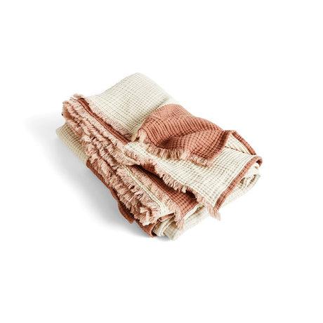 HAY Plaid Crinkle Stripe marrone cotone 210x150cm