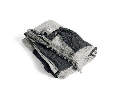HAY Plaid Crinkle Stripe coton gris 210x150cm