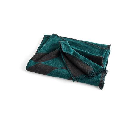 HAY Plaid Star dark green wool 180x130cm