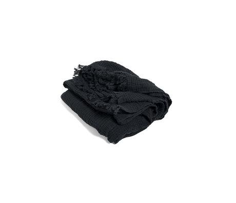 HAY Plaid Crinkle dunkelgraue Baumwolle 210x150cm