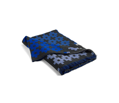 HAY Plaid Plus 9 dark green blue wool 215x145cm