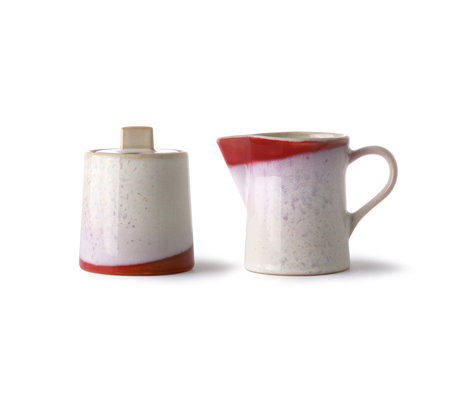 HK-living Milk jug and sugar bowl 70's Frost multicolour ceramic