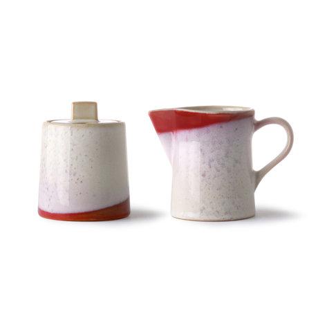 HK-living Milchkännchen und Zuckerdose 70er Jahre Frost mehrfarbige Keramik