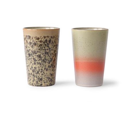 HK-living Juego de 2 tazas de té de cerámica multicolor años 70 Ø8,7x13,5cm