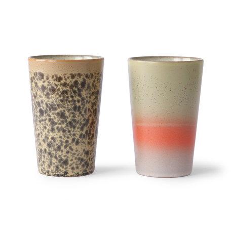 HK-living Tea mug 70's multicolour ceramic set of 2 Ø8.7x13.5cm