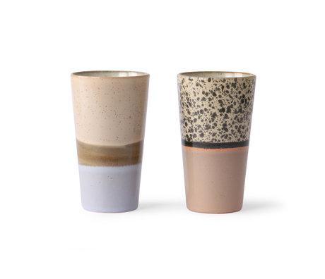 HK-living Latte mug 70's multicolor cerámica set de 2 Ø7.5x13cm