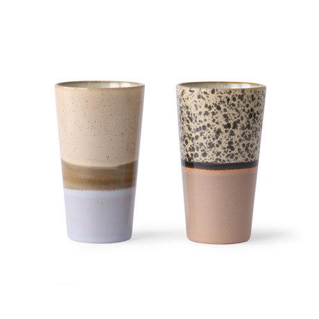 HK-living Latte Tasse 70er Jahre mehrfarbige Keramik Set von 2 Ø7,5x13cm