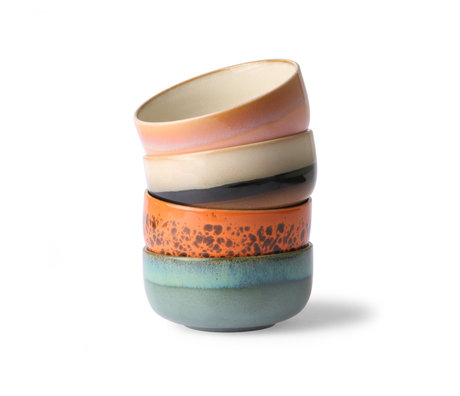 HK-living Ciotola 70's Dessert multicolore in ceramica set di 4 Ø12,5x6cm