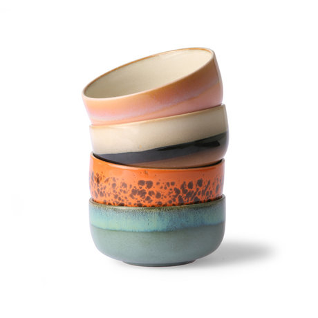 HK-living Bol 70's Dessert céramique multicolore set de 4 Ø12.5x6cm