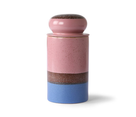 HK-living Vorratsglas 70er Jahre Riff mehrfarbige Keramik Ø11x22,5cm