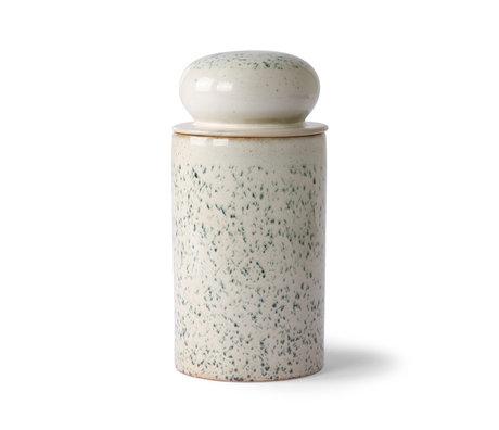 HK-living Pot de rangement 70's Hail céramique multicolore Ø11x22.5cm