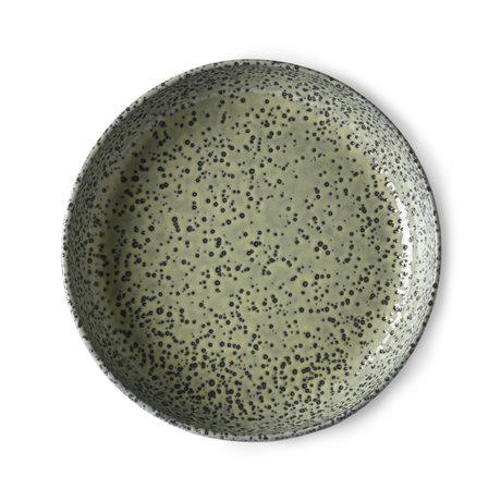 HK-living Assiette Gradient en céramique verte set de 2 Ø21,5x4,3cm