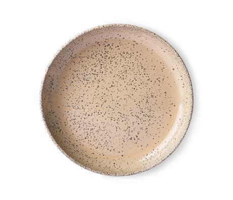 HK-living Assiette en céramique beige dégradé set de 2 Ø21,5x4,3cm