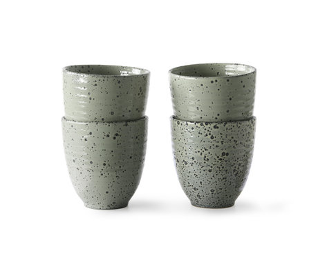 HK-living Mug Gradient green ceramic set of 4 Ø8.5x9cm