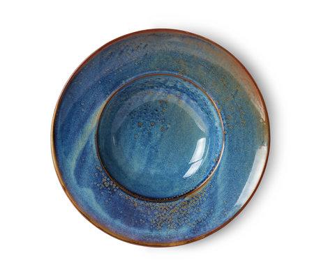 HK-living Assiette Home Chef porcelaine bleue Ø28,5x5,8cm