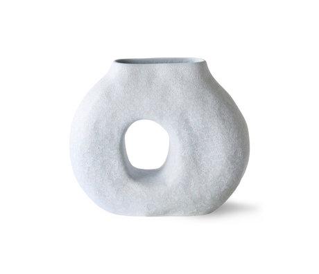 HK-living Vase Organic Circle en céramique bleu glace 23,5x9x20cm
