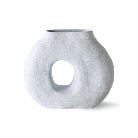 HK-living Vase Organic Circle ice blue ceramic 23.5x9x20cm