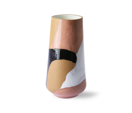 HK-living Vaso Ceramica dipinta multicolore Ø16x31cm