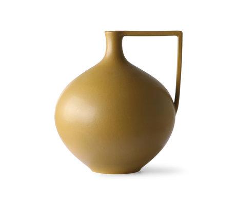 HK-living Cruche L céramique jaune moutarde 26x23x26,5cm
