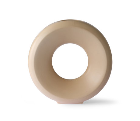 HK-living Vase Circle L beige Keramik 30,5 x 9,5 x 30 cm