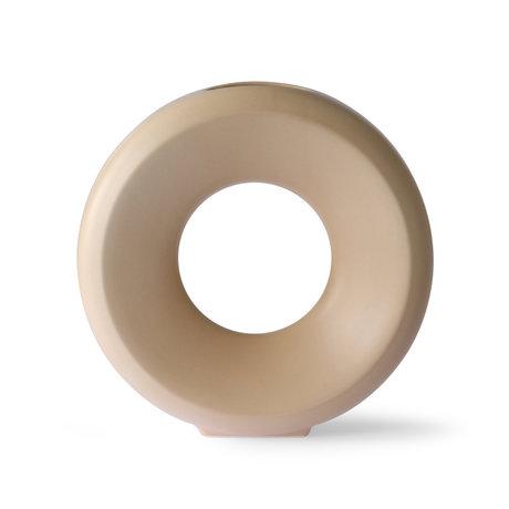 HK-living Vase Circle L beige ceramic 30.5x9.5x30cm