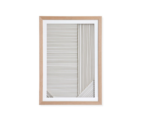 HK-living Art list Papier superposé Un papier blanc naturel bois 42x4x60cm