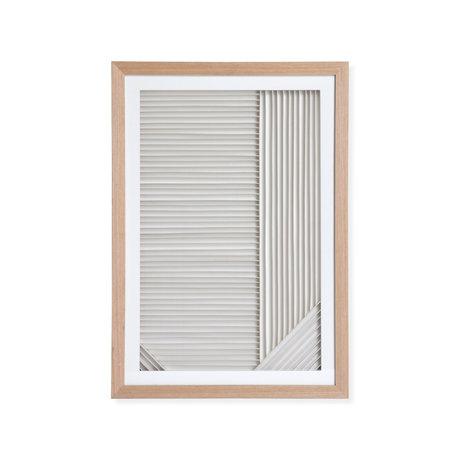 HK-living Lista artistica Carta a strati Un legno di carta bianca naturale 42x4x60cm