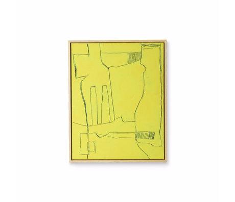HK-living Cadre d'art Brutalisme toile noire jaune 43x4x53cm