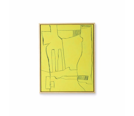 HK-living Kunstrahmen Brutalismus gelb schwarz Leinwand 43x4x53cm