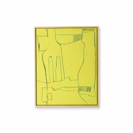 HK-living Cornice artistica Brutalismo giallo nero tela 43x4x53cm