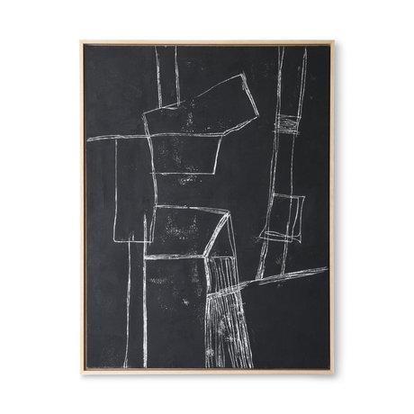 HK-living Cadre d'art Brutalisme toile noire 63x4x83cm