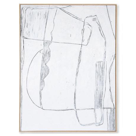 HK-living Cadre d'art Brutalisme toile blanche 123x4x163cm