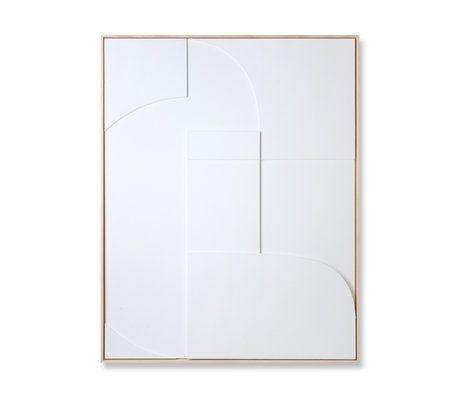 HK-living Art frame Relief A white wood 100x4x123cm