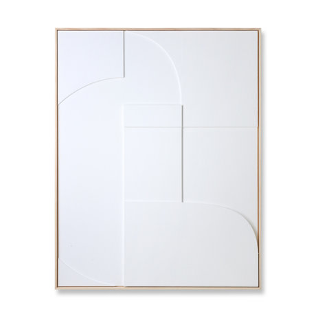 HK-living Kunstrahmen Relief Ein weißes Holz 100x4x123cm
