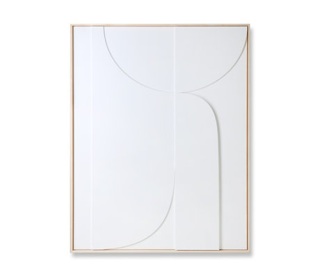 HK-living Art frame Relief B white wood 100x4x123cm