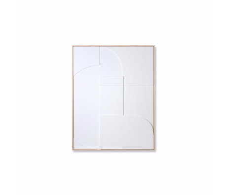 HK-living Cadre d'art Relief B bois blanc 63x4x83cm
