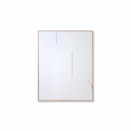 HK-living Art frame Relief B white wood 63x4x83cm