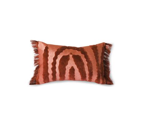HK-living Throw pillow Fringed Velvet Tiger red textile 25x40cm
