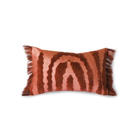 HK-living Cuscino in tessuto con frange Velvet Tiger rosso 25x40cm