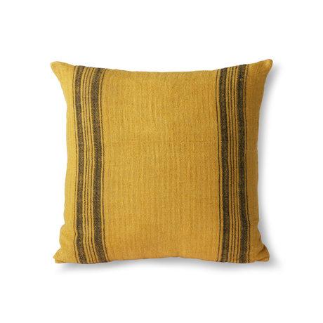 HK-living Wurfkissen Leinen senfgelbes Textil 45x45cm