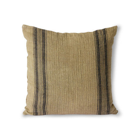 HK-living Cuscino da tiro Tessuto in lino marrone 45x45cm